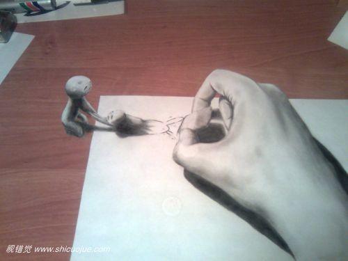 惊人的纸上3d立体画[第三辑]铅笔3d立体画,即用铅笔在