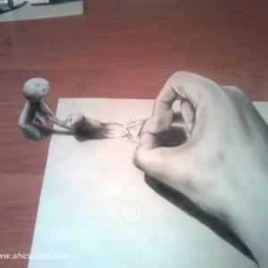 铅笔3d立体画,即用铅笔在素描纸上或者速写本绘制出具有立体效果的