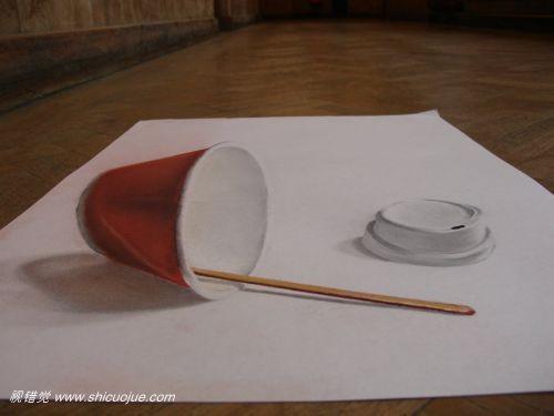 惊人的纸上3d立体画[第三辑]铅笔3d立体画